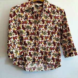 Groovy vintage white paisley button-down blouse!